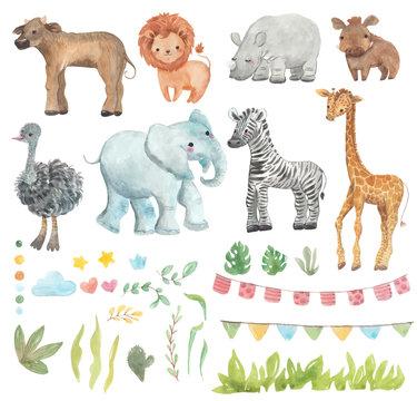 Africa watercolor set. Safari collection with giraffe, rhino, zebra, lion, warthog, ostrich, Buffalo, elephant. Watercolor cute animals.