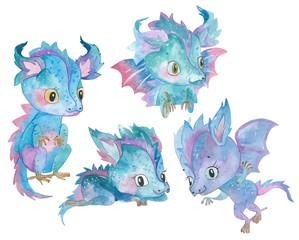 Set of Watercolor hand painted cute little dragons  illustration isolated on white. Cartoon childish characters