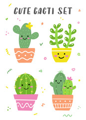 Door stickers Bestsellers Kids Cute cacti set. Happy bright cactuses with smile faces. Perfect for stickers or cards. Vector illustration.