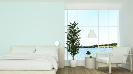 Wall Mural - 3D interior rendering bedroom space and wall decoration and nature view background