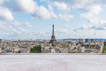 Eiffel tower, famous landmark and travel destination in France, Paris	with empty concrete terrace