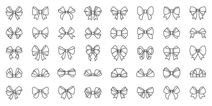 Bow ribbon gift box decor tie line icon vector set