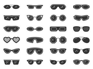 Glasses sun eye frame silhouette icon vector set