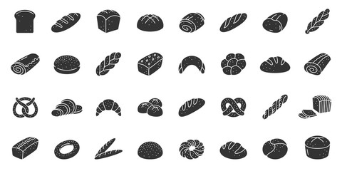Bread bakery baking silhouette icon vector set