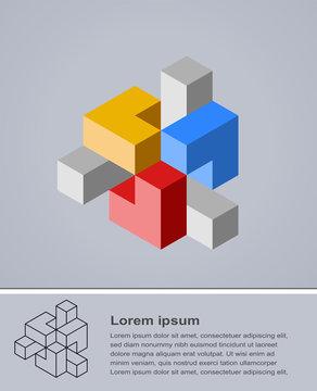 Vector illustration of cubical design element