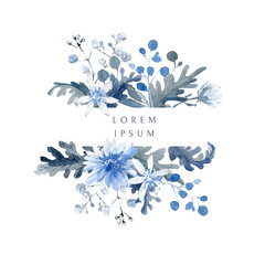Watercolor floral background. Horizontal frame with black and blue plants
