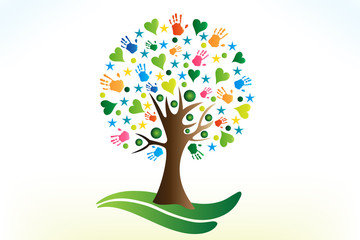 Tree hearts and hands people figures logo vector web image template
