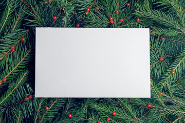 Fotobehang - Blank card on Christmas tree branches as background, top view. Space for text