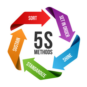 5S methodology management with circle arrow roll chart. Sort. Set in order. Shine/Sweeping. Standardize and Sustain. Vector illustration design