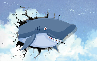 3d illustration, a smiling shark peeps out of a crack in the wall with a picture of the sky
