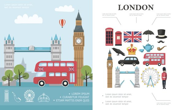 Flat Travel To London Concept