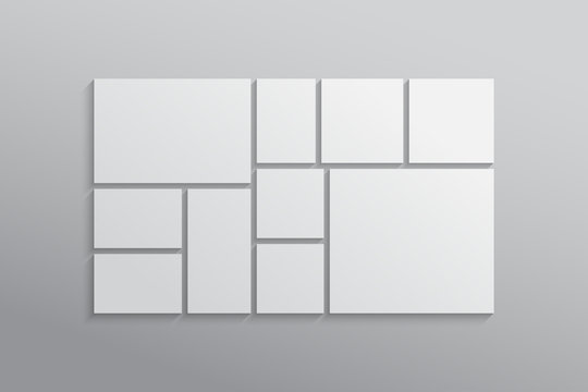 Vector empty collage board ten frames, photo