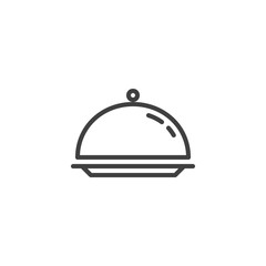 Cloche, food tray line icon. linear style sign for mobile concept and web design. Tray outline vector icon. Restaurant service symbol, logo illustration. Vector graphics