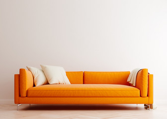 Bright white mock up wall with orange sofa in modern interior background, living room, Scandinavian style, 3D render, 3D illustration