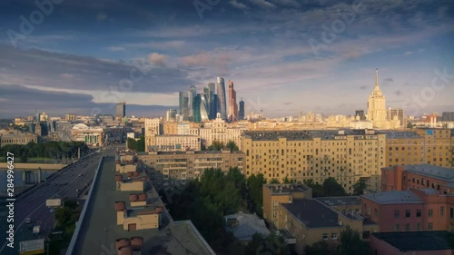 Fotobehang Aerial panorama of Moscow City skyline. Timelapse, 4K UHD.