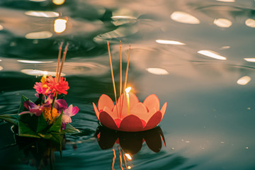 Garden Poster Lotus flower Paper lotus flower with candle floating on a river at night in Loy krathong festival, traditional Siamese new year festival celebrated in Thailand.