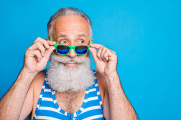 Close-up portrait of his he nice attractive funky cheerful cheery content gray-haired man spending leisure cool carefree life lifestyle isolated over bright vivid shine turquoise blue background Fototapete