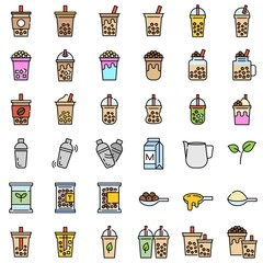 Bubble tea or Pearl milk tea filled icon set