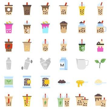 Bubble tea or Pearl milk tea flat icon set