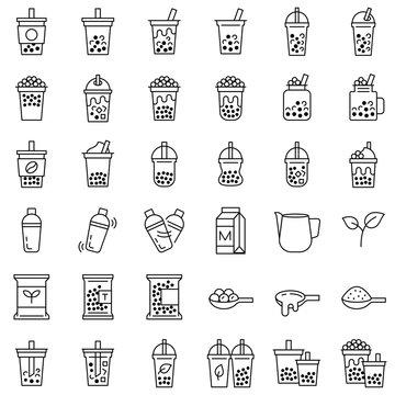 Bubble tea or Pearl milk tea line icon set