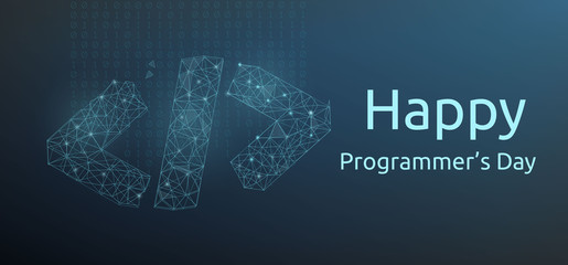 Happy programmer day banner with code symbol in polygonal wireframe style. Vector illustration. Fototapete