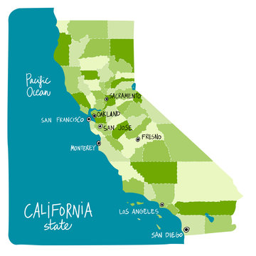 Map of California state of the USA, with counties.