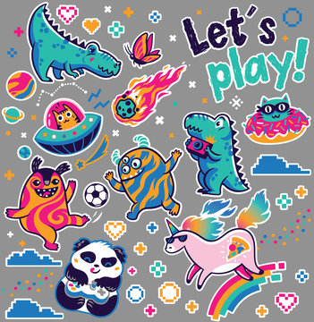 Let's play. Kids sticker collection in vector. Cute fantasy animals, cosmic aliens, cool unicorn, panda gamer and other