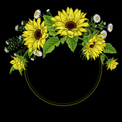 Vintage frame with Sunflowers and wild flowers.
