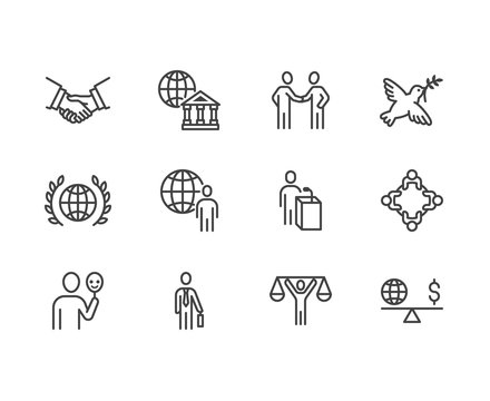 Diplomacy flat line icons set. Global politics, handshake, international business, presentation vector illustrations. Outline signs for diplomatic meeting. Pixel perfect 64x64. Editable Strokes