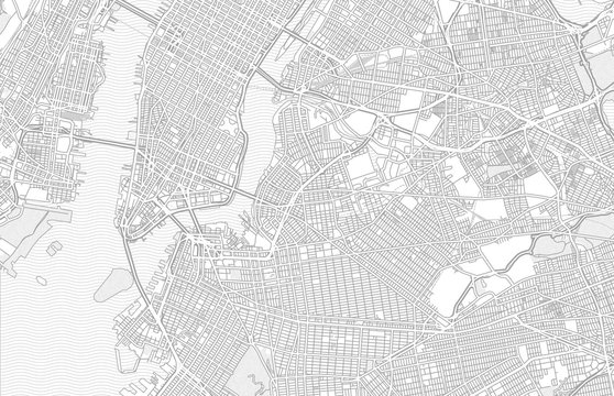 New York City, New York, USA, bright outlined vector map