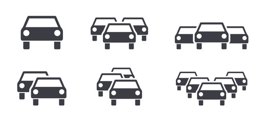 Cars and traffic jam symbols icons