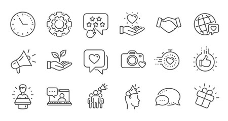 Brand ambassador line icons. Influence people, Megaphone and Representative. Handshake, influencer marketing person, ambassador person icons. Linear set. Quality line set. Vector