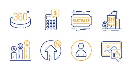 Loan percent, Calculator and Buildings line icons set. Avatar, Fastpass and Graph chart signs. 360 degrees, Like photo symbols. Growth rate, Money management. Business set. Vector