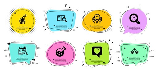 Safe time, Search map and Chemistry lab line icons set. Chat bubbles with quotes. Brand ambassador, Heart and Parcel shipping signs. Time management, Search book symbols. Vector