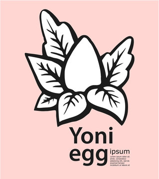 Hand-drawn yoni egg with leafs. Women secret logo. Vector Illustration - stock vector. Stone Egg Practice