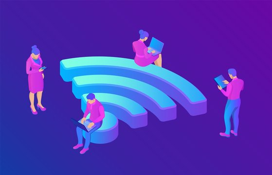 Wi-Fi. People in public free wi fi hotspot zone. People surfing internet sitting on a big wifi sign. Public assess zone. Wireless connection technology concept. 3D isometric vector illustration.