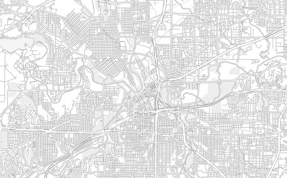 Fort Worth, Texas, USA, bright outlined vector map