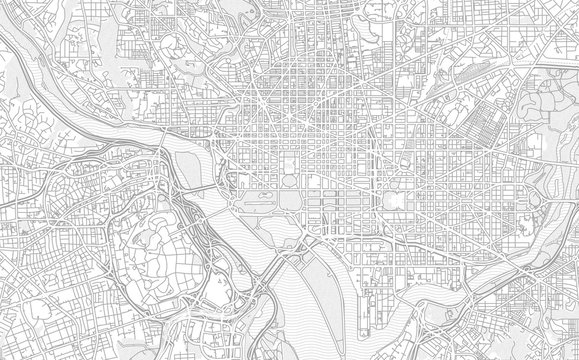 Washington, D.C., USA, bright outlined vector map