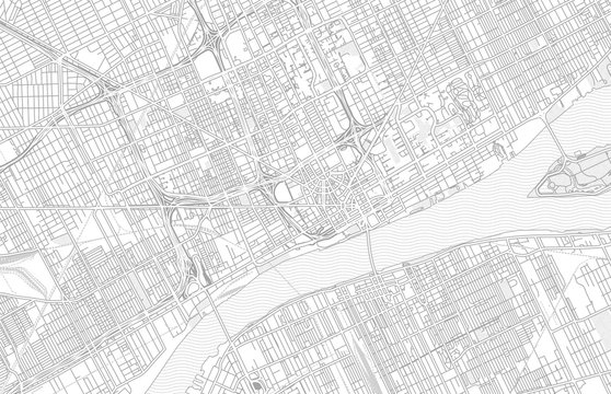 Detroit, Michigan, USA, bright outlined vector map