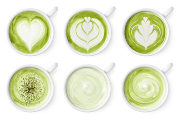 Set of green tea matcha latte foam art