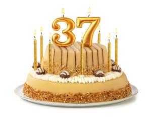 Festliche Torte mit goldenen Kerzen - Nummer 37