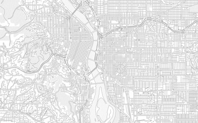 Portland, Oregon, USA, bright outlined vector map