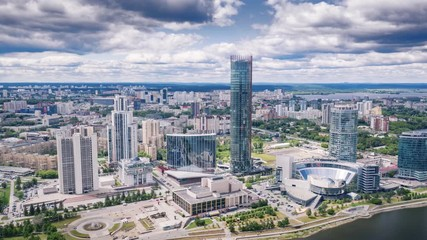 Fototapete - Yekaterinburg, Russia skyline, aerial view of city center and Iset river. Hyperlapse timelapse dronelapse, 4K UHD.