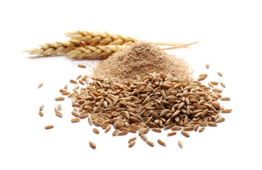 Obraz Spelt bran and grains with ears of wheat isolated on white background - fototapety do salonu