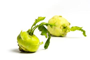 Kohlrabi vegetable isolated on white