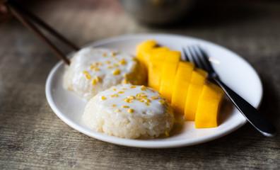 Mango sticky rice Thai Asian dessert