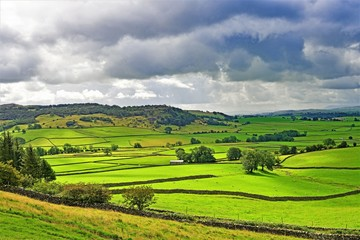 Foto auf Acrylglas Lime grun Rain clouds gather over Austwick meadowland, Yorkshire Dales, England