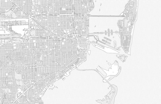 Miami, Florida, USA, bright outlined vector map