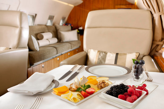 Food served on board of business class airplane.