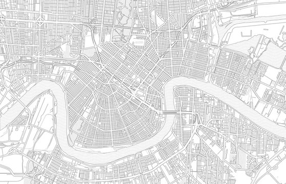 New Orleans, Louisiana, USA, bright outlined vector map